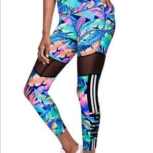 PINK VS vibrant floral /mesh yoga gym leggings